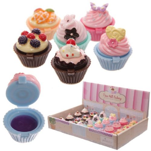 Girls Lip Gloss in a Fairy Cup Cake Holder for Party Favors & Stocking Fillers